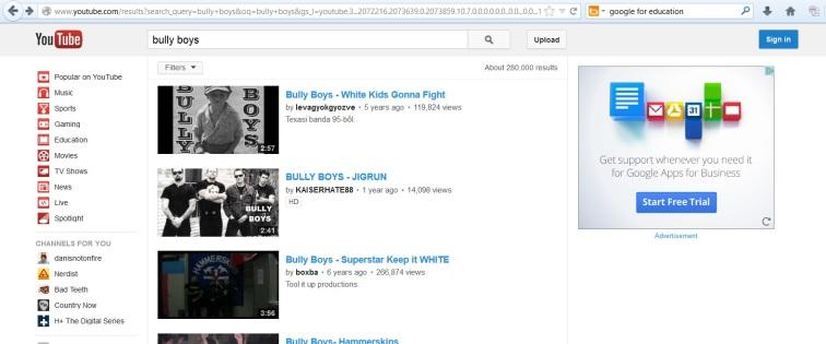 Bully Boys Google Ad