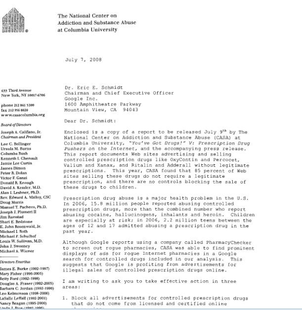 califano letter