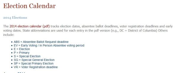 2014 Election Calendar Codes
