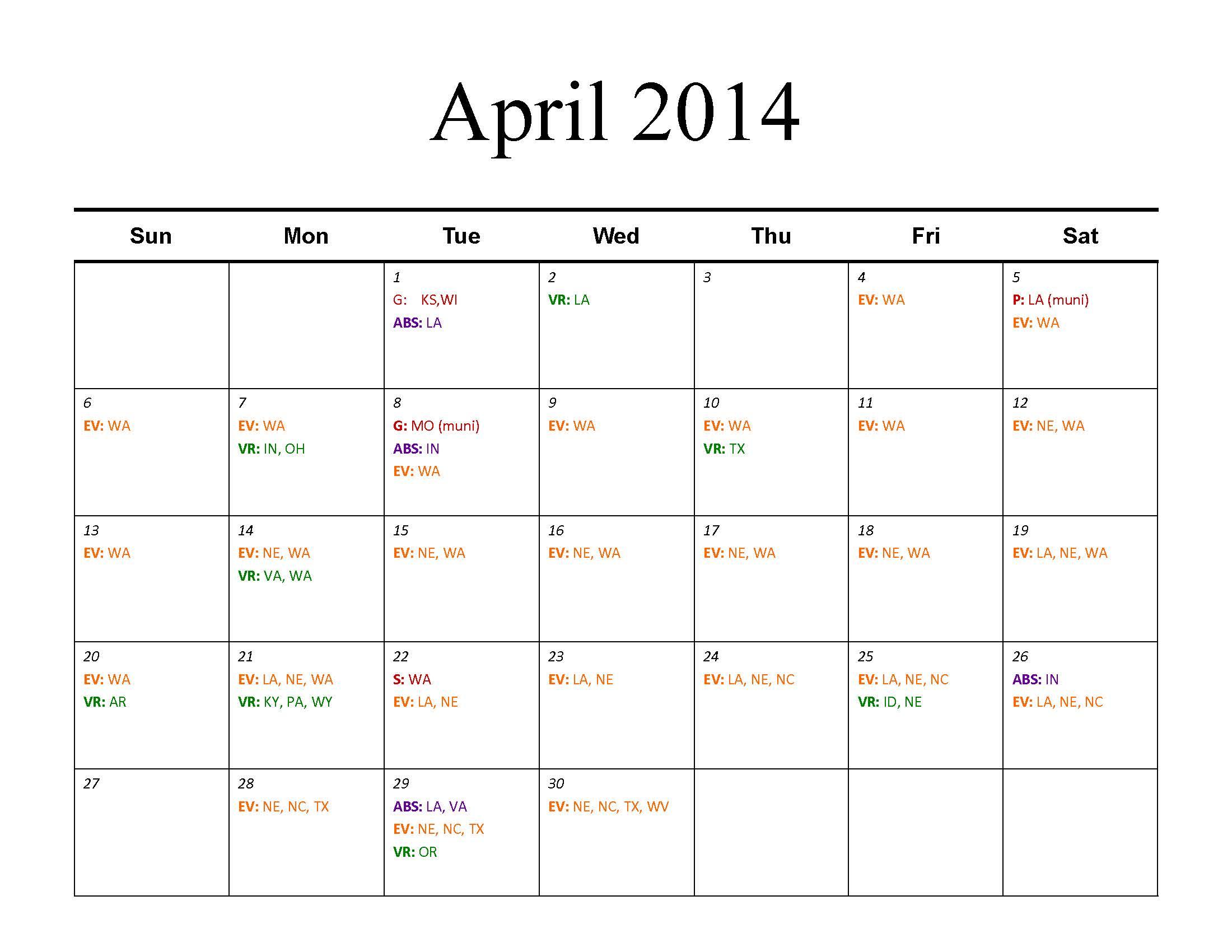elections voting documents calendar