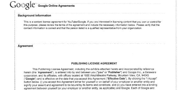YouTube Publishing Agreement