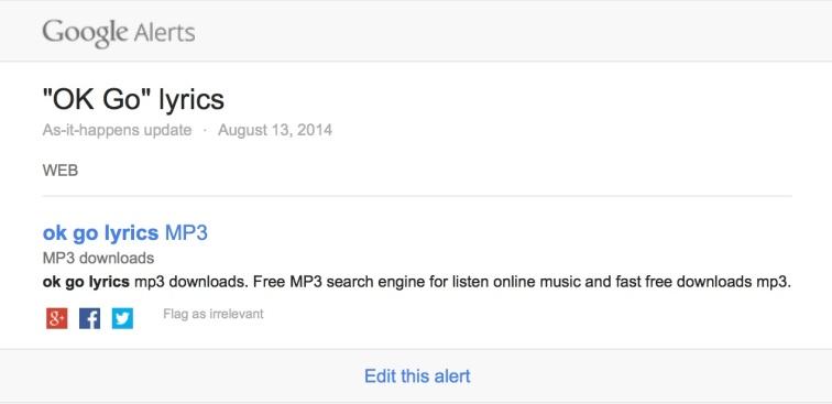 Google Alert OK Go