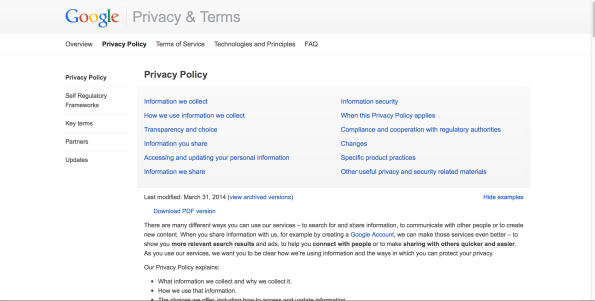 Google Starbucks Privacy Policy
