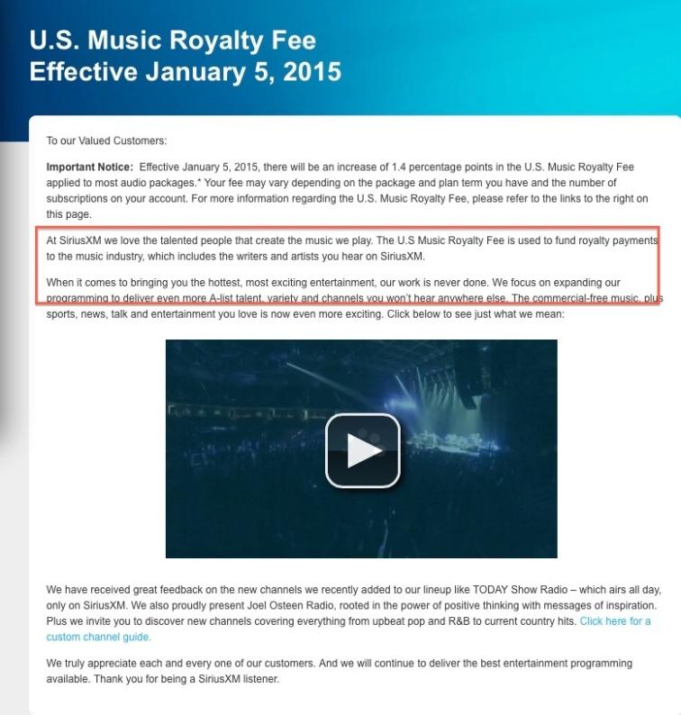 sirius music fee detail