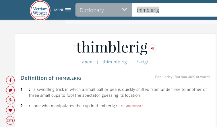 thimblerig definition