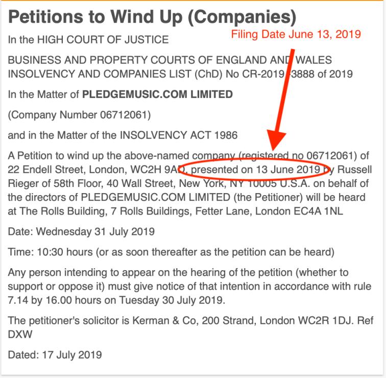 Pledge Windup File Date