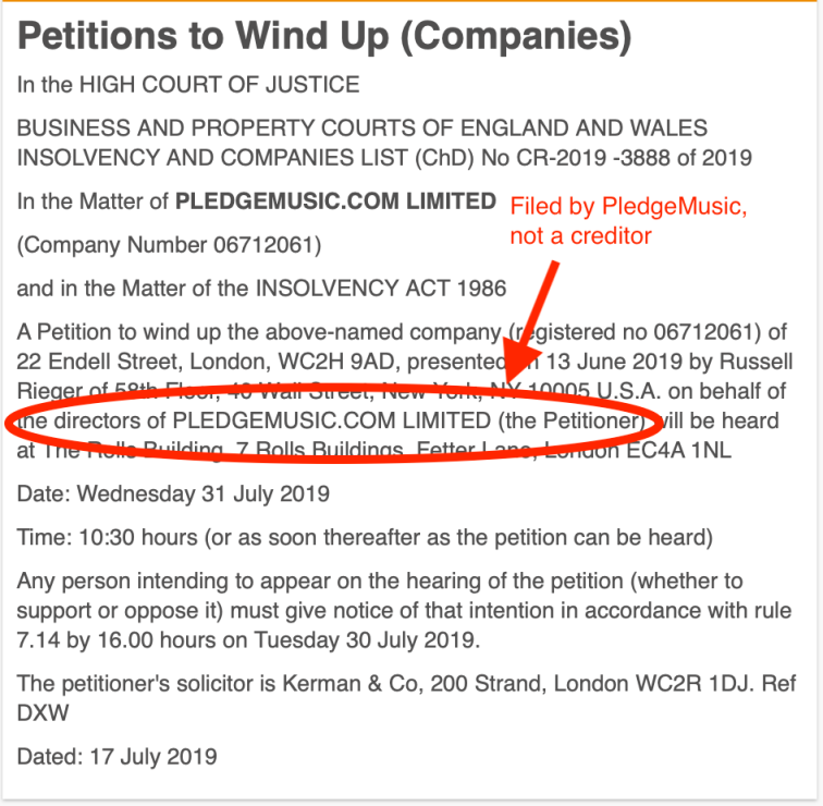 Pledge Windup Filed By