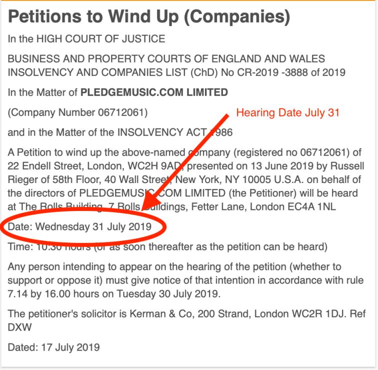 Pledge Windup Hearing Date
