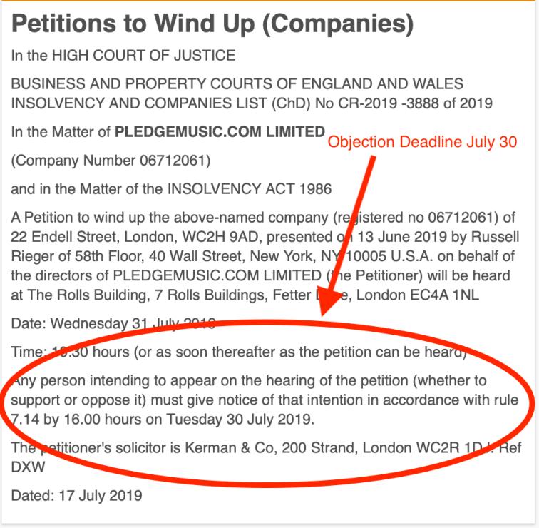 Pledge Windup Objection Date