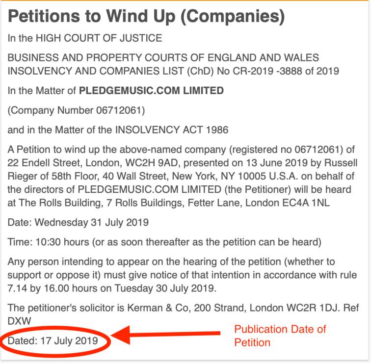 Pledge Windup Publication Date