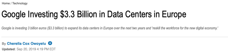 thestreet google data centers in EU